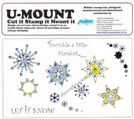 Snowflakes & Wording 10 Uncut & Unmounted Rubber Stamps
